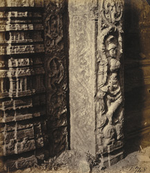 Close view of carved figure of Ganga at base of pillar of gopura of the Narasimha Temple, Ahobilam